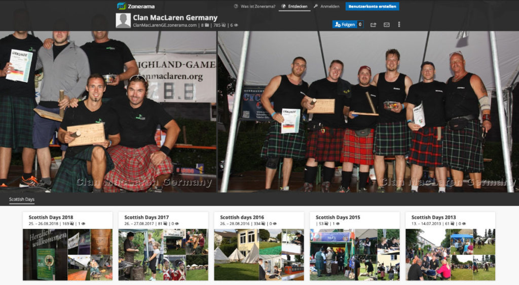 Image-Gallery der Friends of Clan MacLaren bei Zonerama